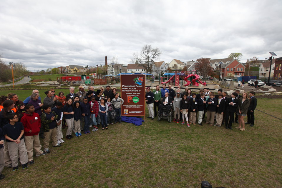 Providence Parks Urban Wildlife Refuge Partnership sign unveiling