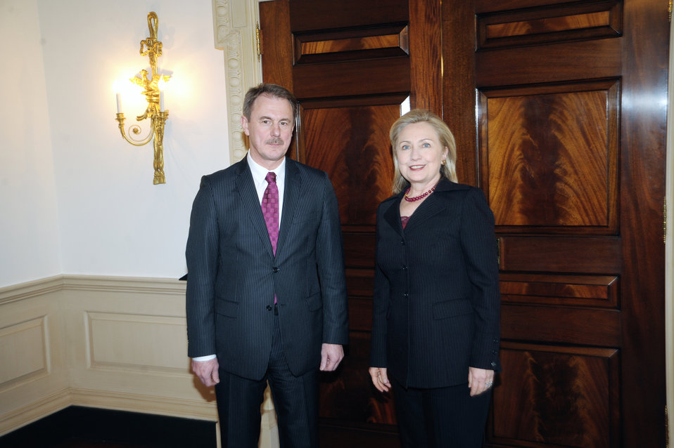 Secretary Clinton Poses for a Photo With Latvian Foreign Minister Kristovskis