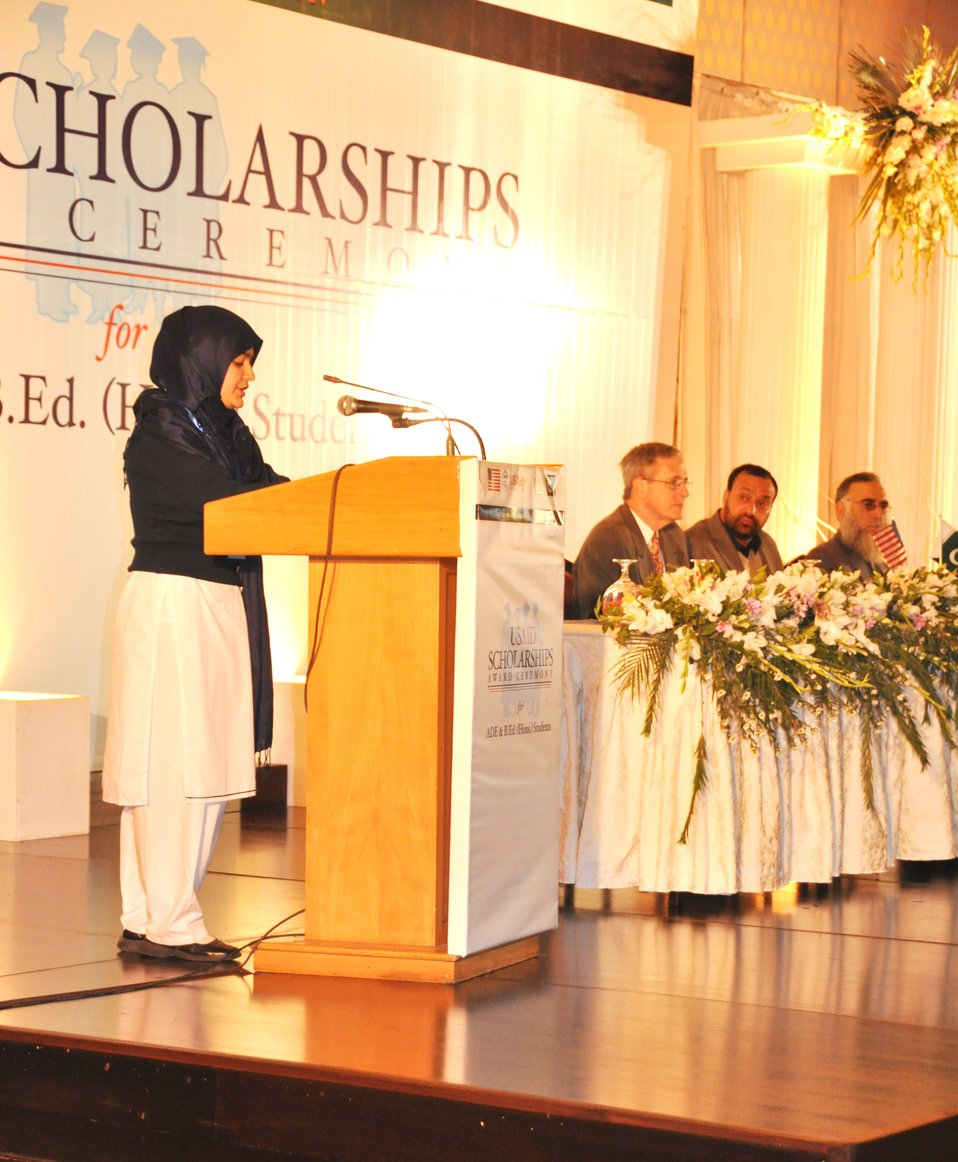 A scholarship recipient while sharing her remarks