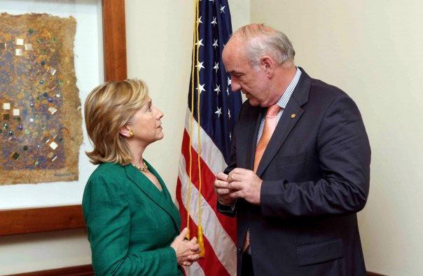 Secretary Clinton With Peruvian Foreign Minister Jose Antonio Garcia-Belaunde