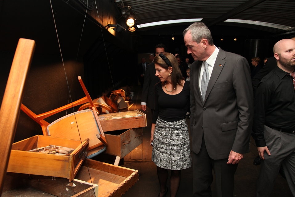 Ambassador Murphy and His Wife Tour the 'Floodwall' Exhibit