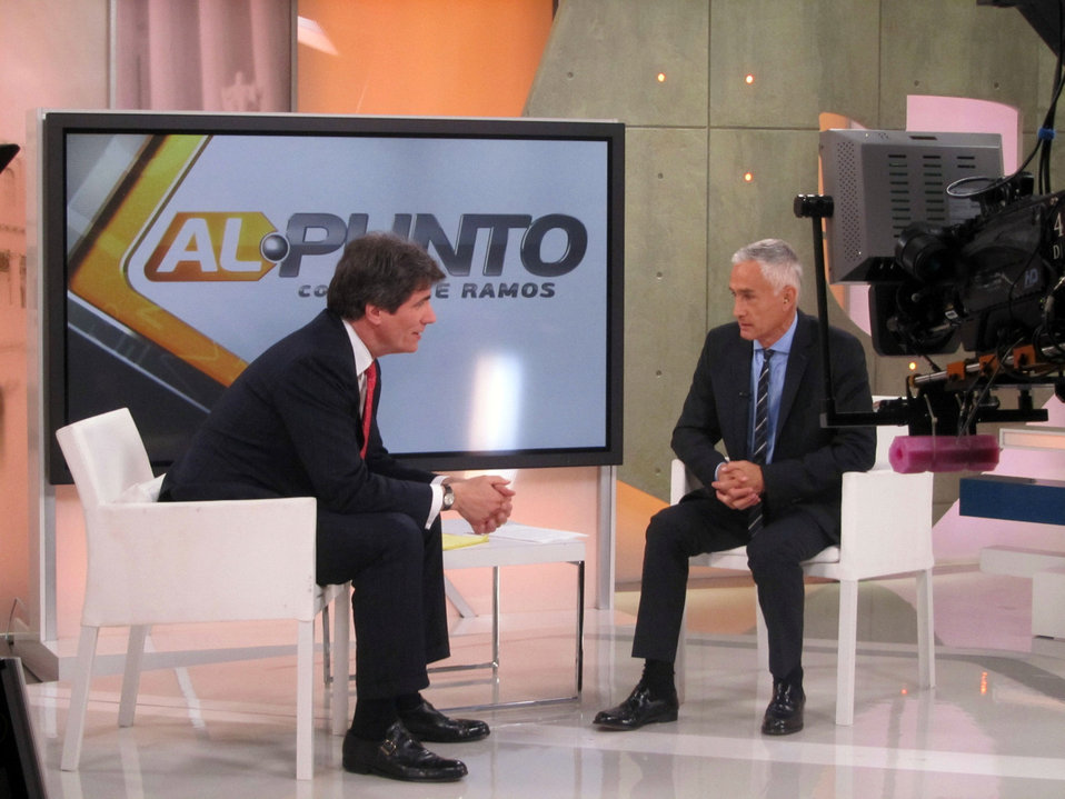 Assistant Secretary Fernandez Chats With Univision's Jorge Ramos