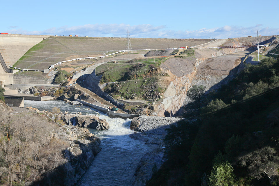 Winter water releases at the Folsom Spillway
