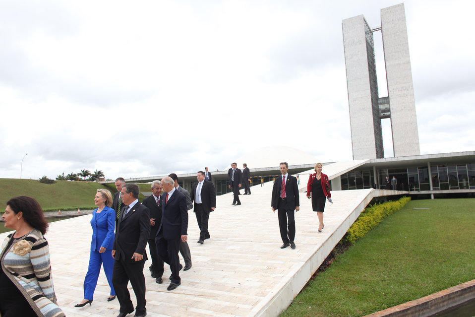 Secretary Clinton Departs Brazilian Congress