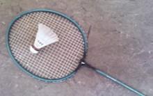 Čeština:  Badmintonová pálka a míček