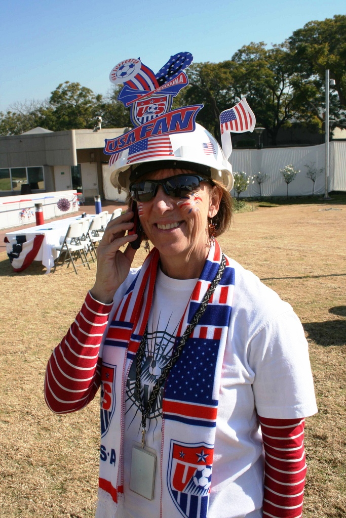 A Member of the U.S. Embassy Pretoria Staff Shows Her Fan Gear