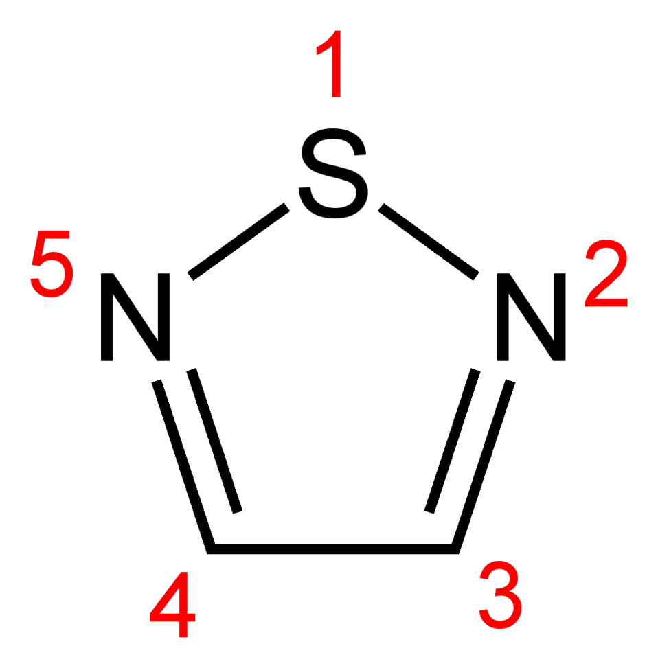 Numbered skeletal formula of 1,2,5-thiadiazole, C2H2N2S