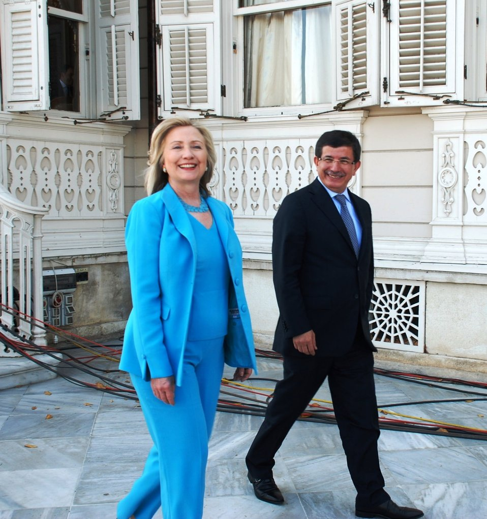 Secretary Clinton and Turkish Foreign Minister Davutoglu Walk