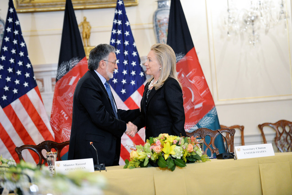 Secretary Clinton Shakes Hands With Afghan Foreign Minister Rassoul