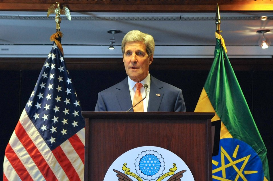 Secretary Kerry Speaks During News Conference in Ethiopia