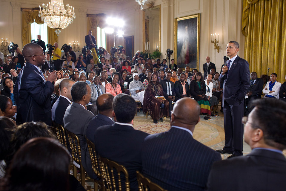President Obama Listens to a Question from Sidney Chisi of Zimbabwe