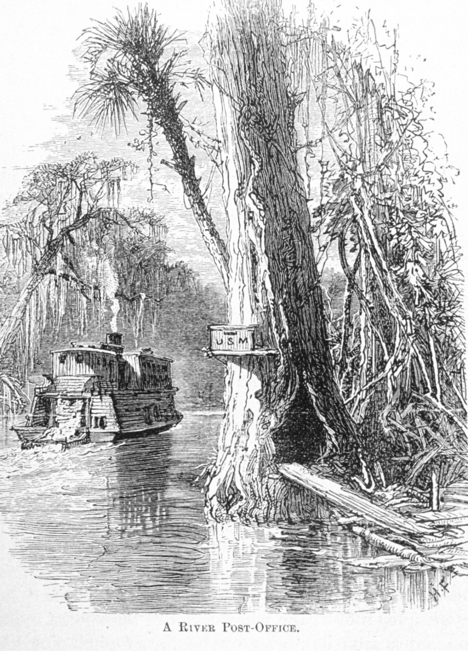 A River Post-Office - in 'Florida for Tourists, Invalids, and Settlers'  by George M. Barbour, 1881.  Library Call No. F316 .B23 1881. A scene along the Ocklawaha River in central Florida near Ocala.