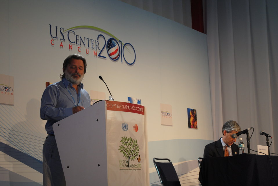 A Panelist Presents During the 'Climate Change and Human Health' Side Event