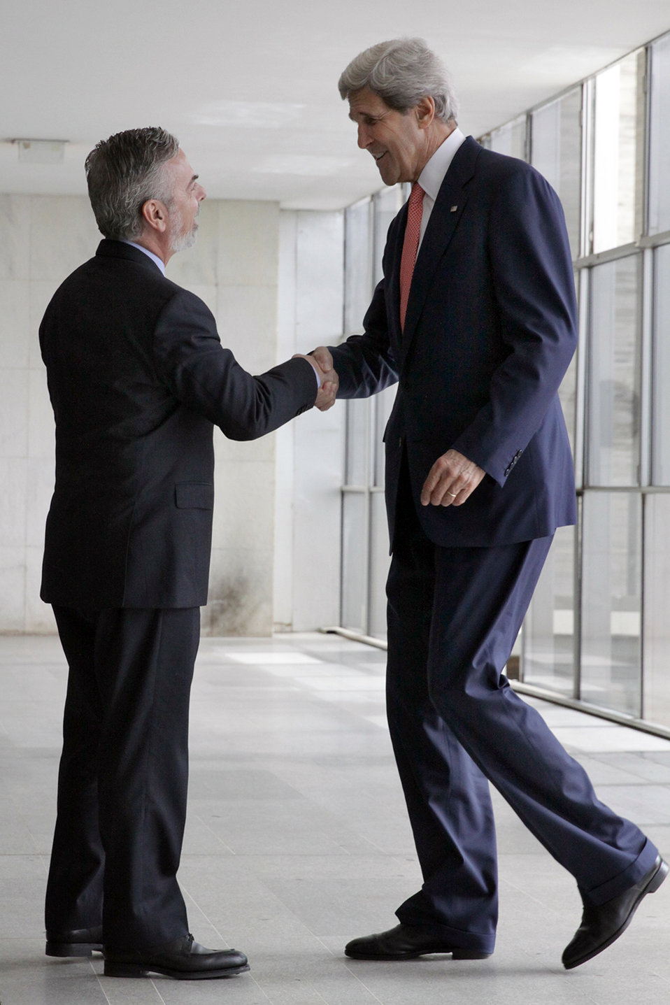 Secretary Kerry Is Greeted By Brazilian Foreign Minister Patriota