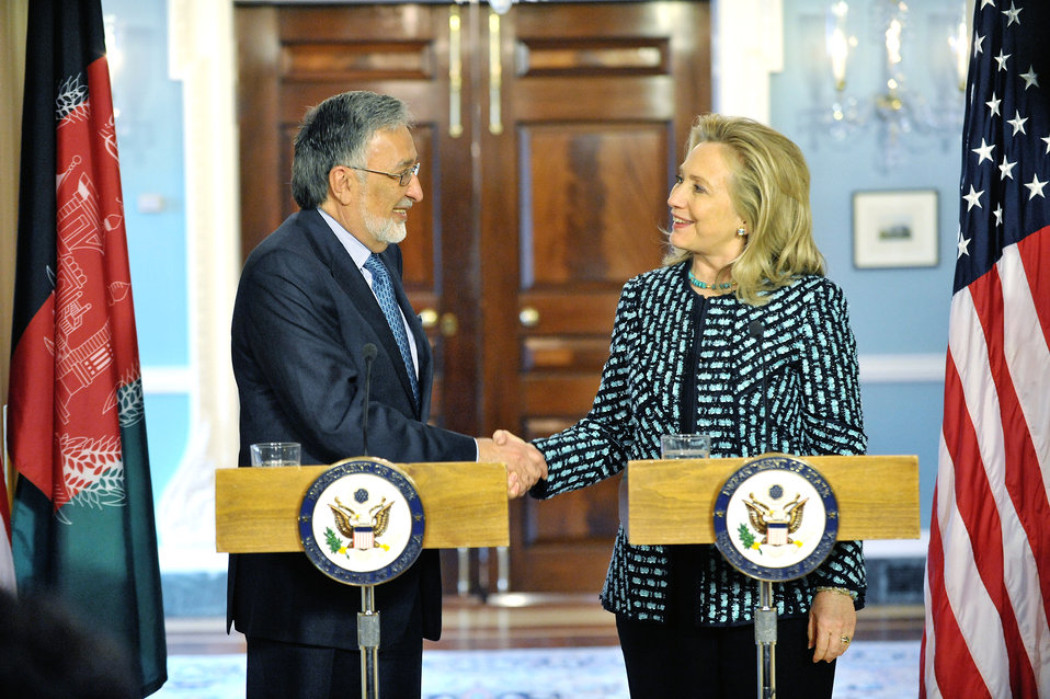 Secretary Clinton Delivers Remarks With Afghanistan Foreign Minister Rassoul