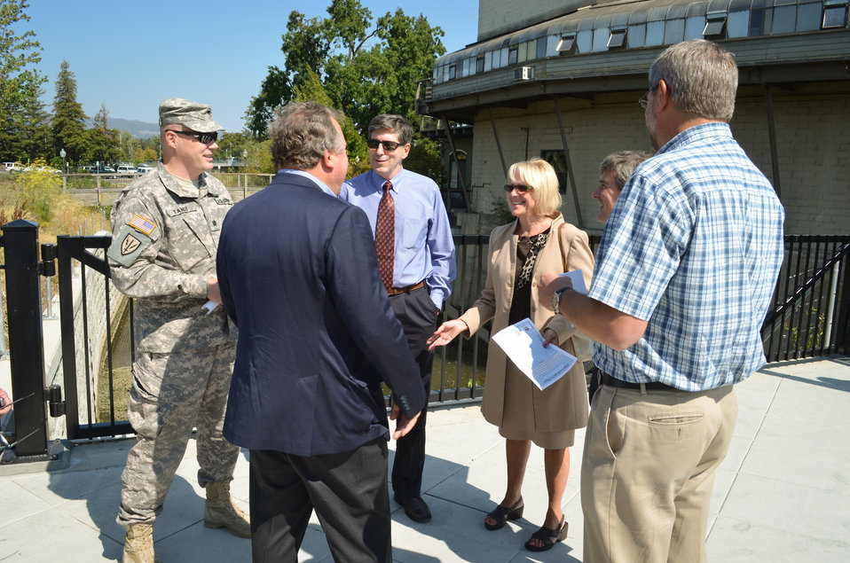 Lt. Col. Chris Tande talks with Napa Mayor Jill Techel