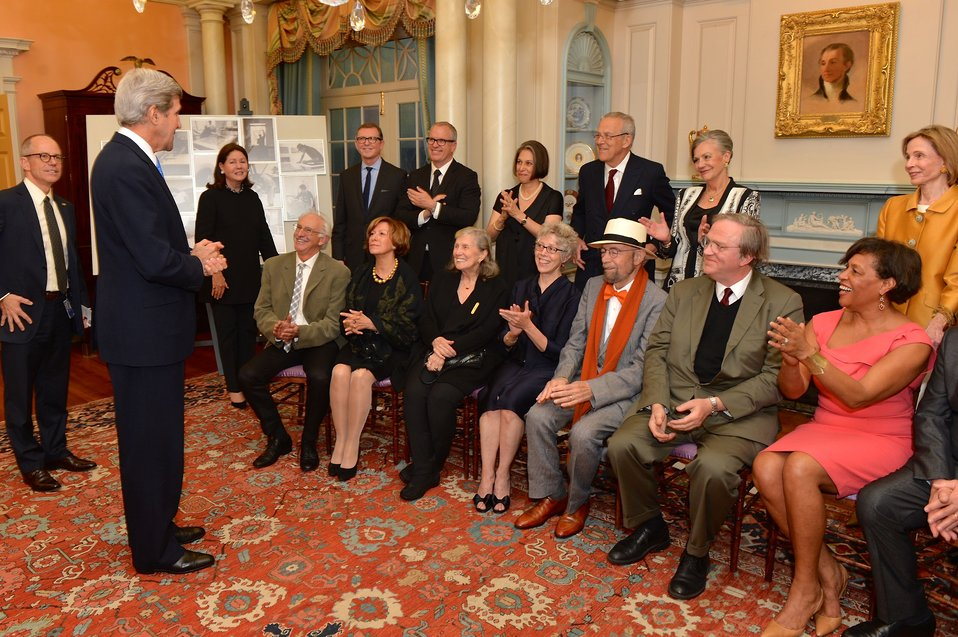 Secretary Kerry Speaks With Foundation for Art and Preservation in Embassies Members