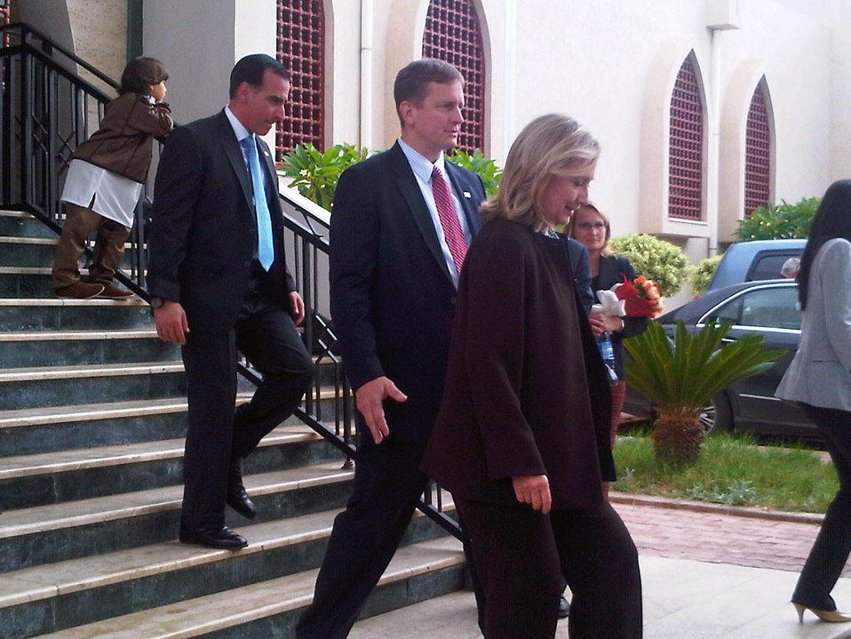 Secretary Clinton Departs Meeting With TNC President Jalil