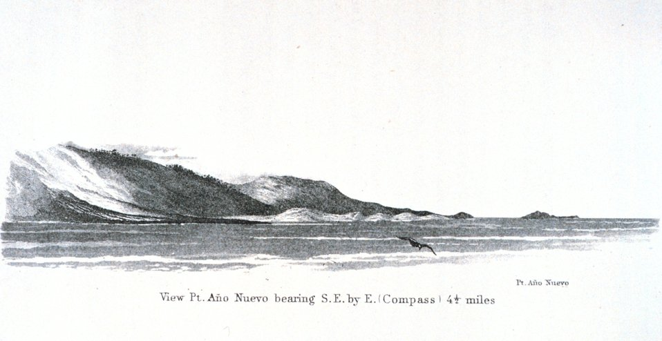 Point Ano Nuevo and Ano Nuevo Island as seen from offshore.  This is about 20 miles north of Santa Cruz, California. In:  Pacific Coast.  Coast Pilot of California, Oregon, and Washington Territory .  By George Davidson, 1869.  P. 51.  Library Call Numbe