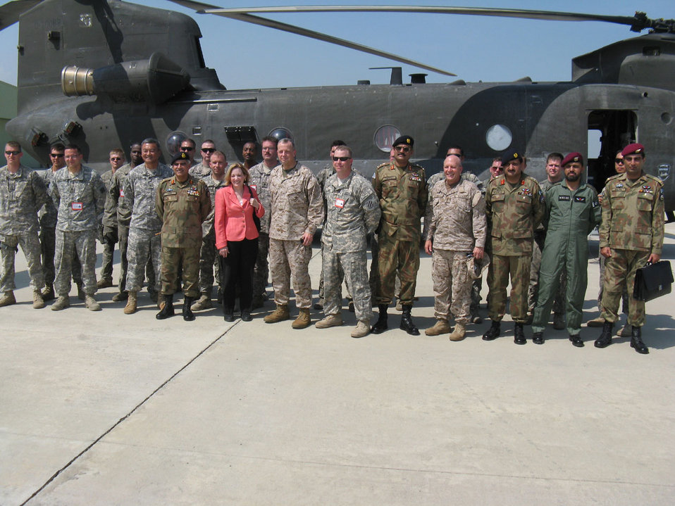 Ambassador Patterson and Lt. Gen. Allen Stand Alongside Pakistani and U.S. Military Members
