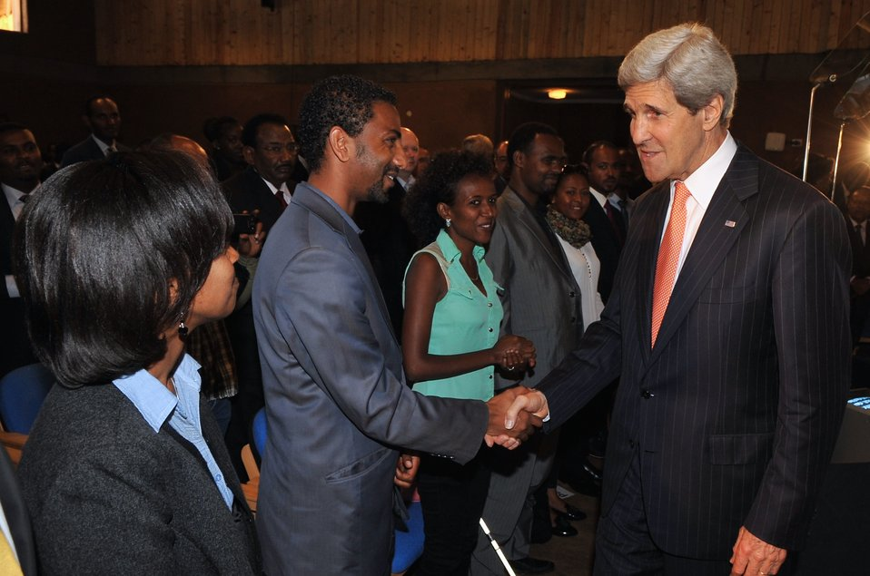 Secretary Kerry Bids Farewell to Audience Following Africa Policy Speech