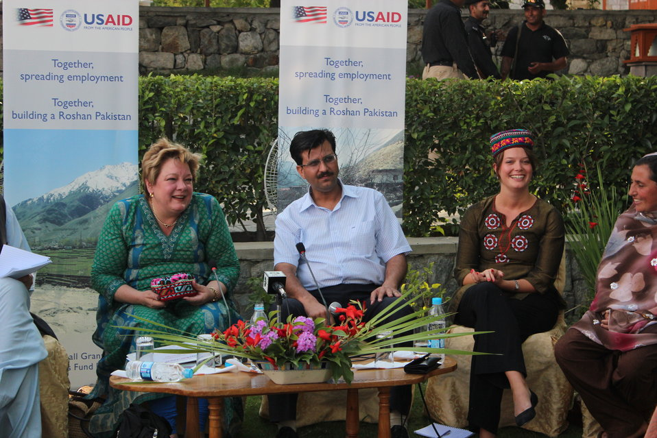 USAID Deputy Country Director Karen  Freeman met with 6-8 beneficiaries from Gupis Rural Support Program