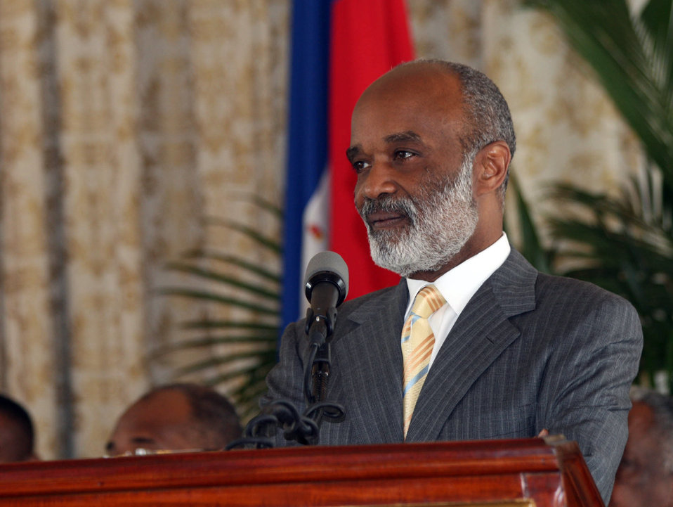 President Preval of Haiti During Press Conference