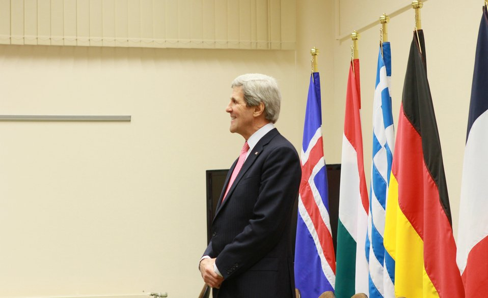 Secretary Kerry Waits for a Meeting With the Czech Minister of Foreign Affairs