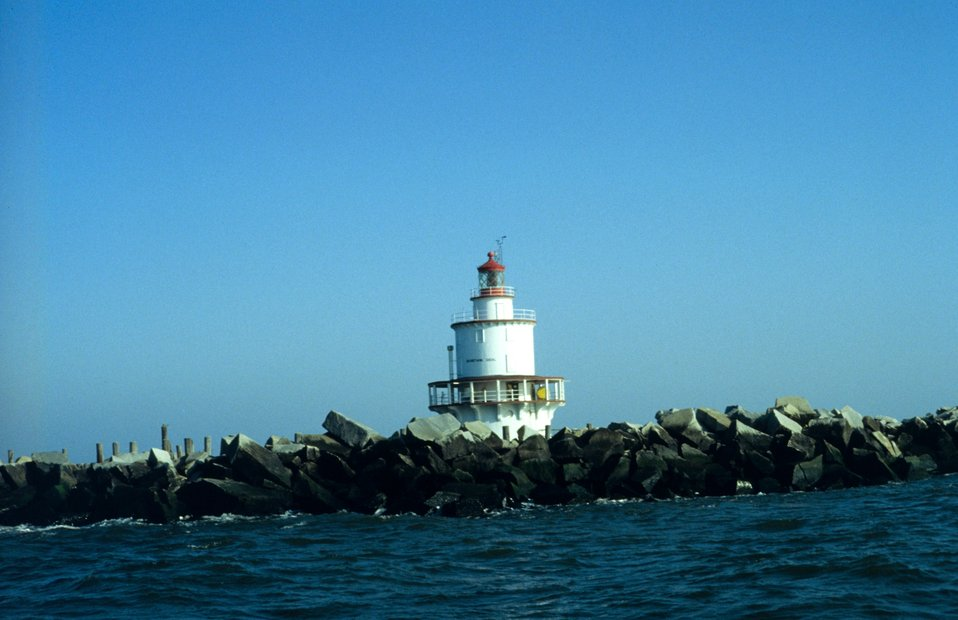 Brandywine Shoal Lighthouse seen at low tide in Delaware Bay.