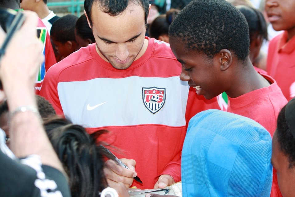 U.S. National Soccer Team Members Signs His Autograph