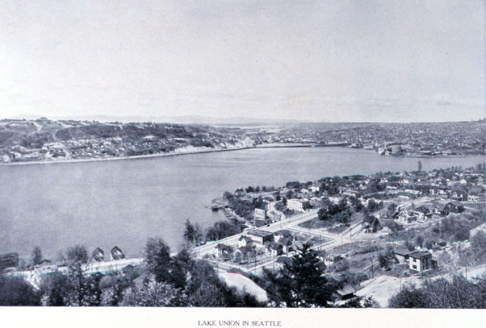 'Lake Union in Seattle'.  The present-day NOAA Ship base is located in the near left corner of the lake. In:  'Puget Sound and Western Washington  Cities-Towns Scenery', by Robert A. Reid, Robert A. Reid Publisher, Seattle, 1912.  P. 78.