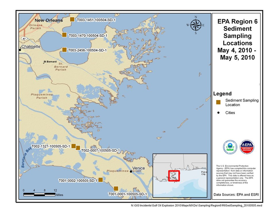 EPA Sediment Sampling Locations May 4-5, 2010