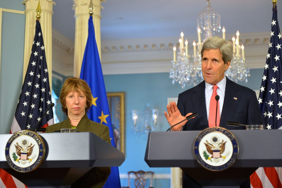 Secretary Kerry and EU High Representative Ashton Address Reporters