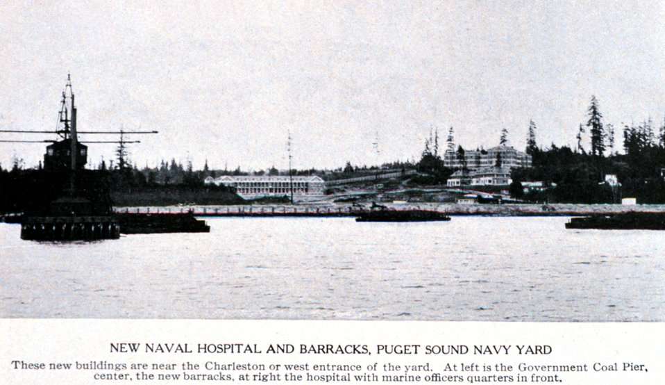 'New Naval Hospital and Barracks, Puget Sound Navy Yard'. In:  'Puget Sound and Western Washington  Cities-Towns Scenery', by Robert A. Reid, Robert A. Reid Publisher, Seattle, 1912.  P. 146.