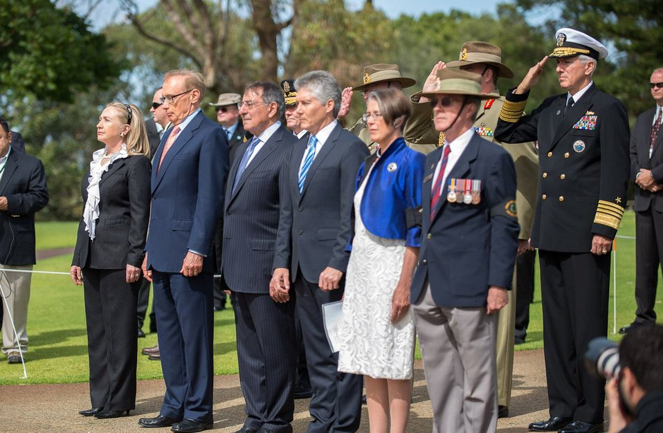 Secretary Clinton, Minister Carr, Secretary Panetta, and Minister Smith Participate in a Wreath-Laying Ceremony