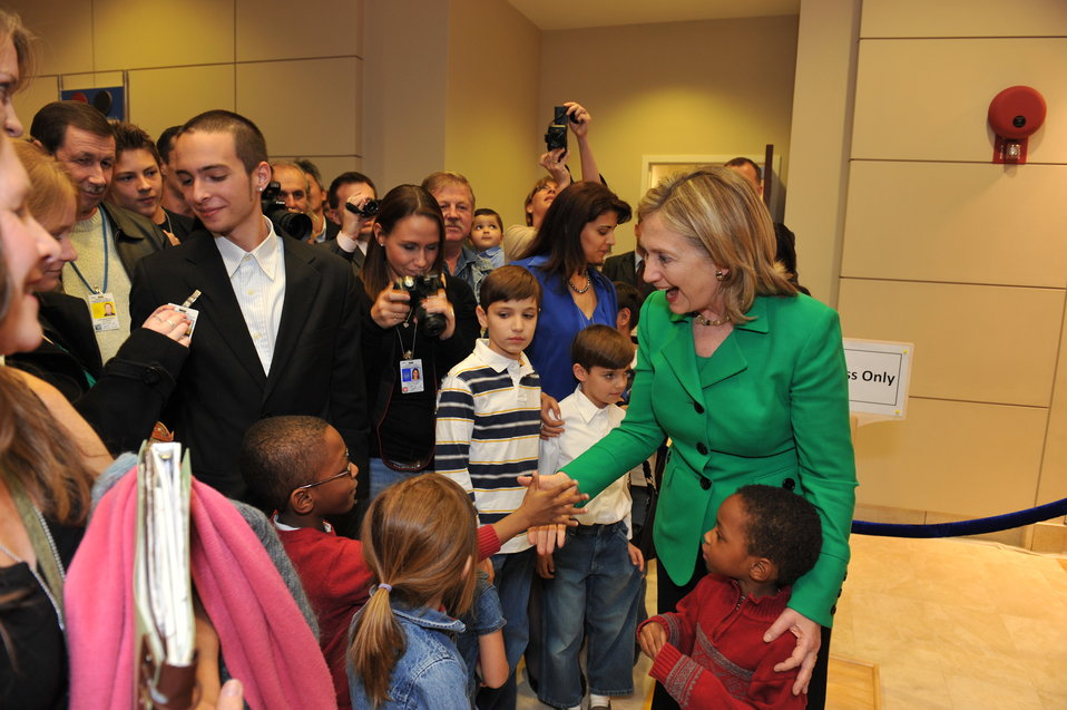 Secretary Clinton Meets With Children at the U.S. Embassy Tashkent