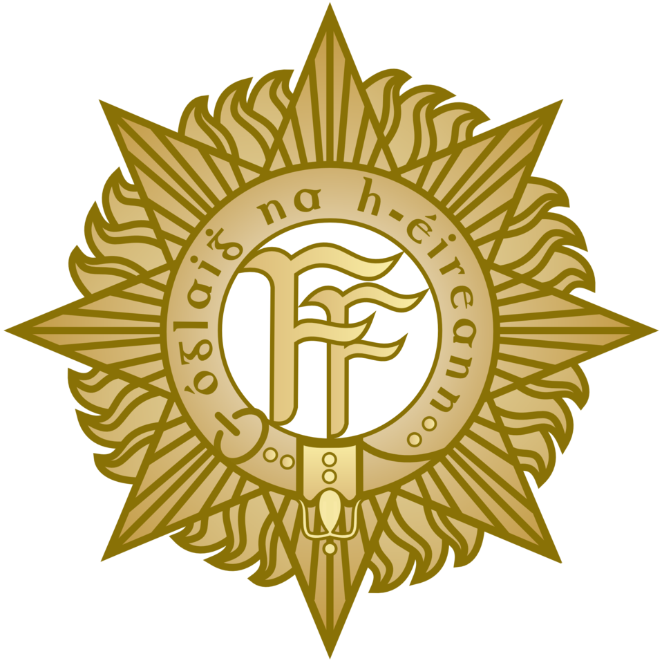 Badge of the Irish Defence Forces, sometimes called the 'FF Badge'. Originally designed in 1913 for the Irish Volunteers.