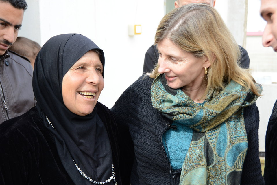 USAID Assistant Administrator Lindborg Interacts With a Syrian Refugee