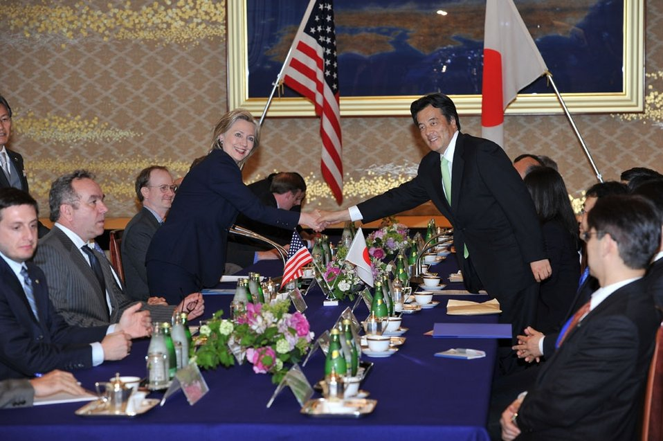 Secretary Clinton and Japanese Foreign Minister Okada Shake Hands Before Talks