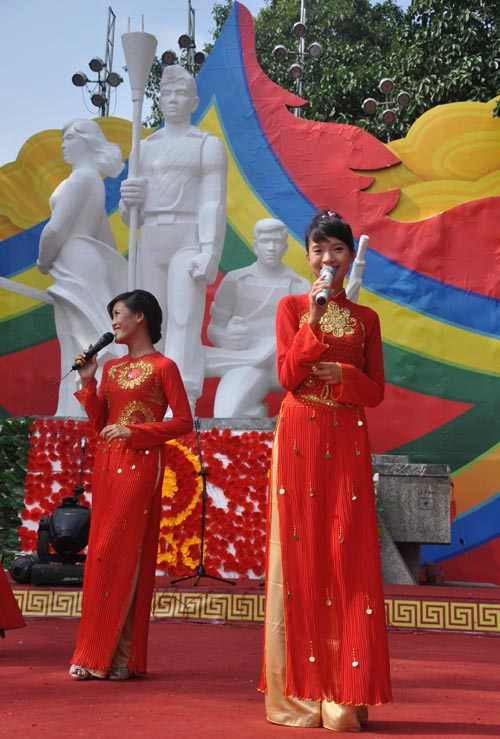 Singers perform in Hanoi during the millennial celebrations.