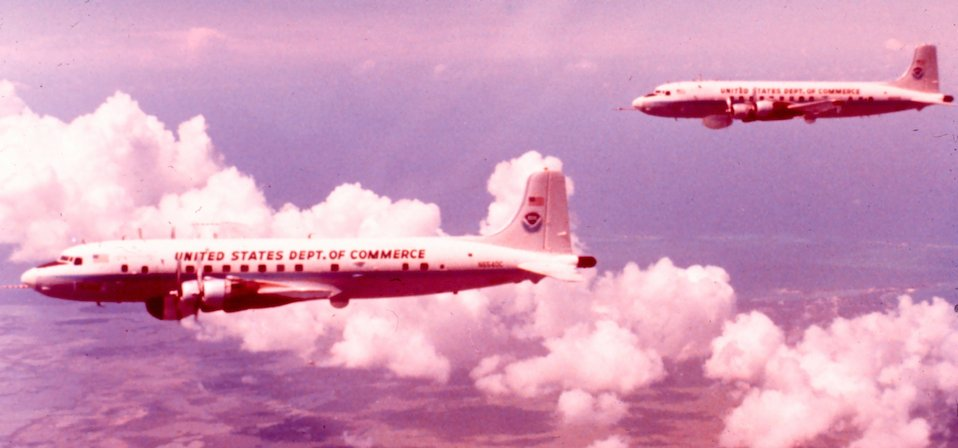 NOAA DC-6 N6540C in flight.