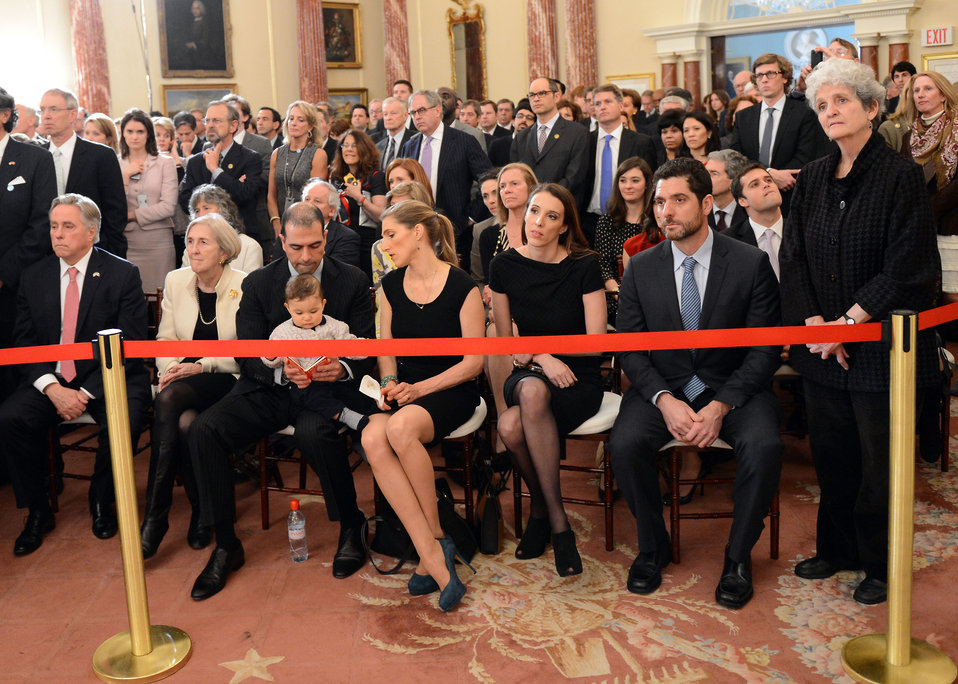 Members of Secretary Kerry's Family Look on as Vice President Biden Speaks