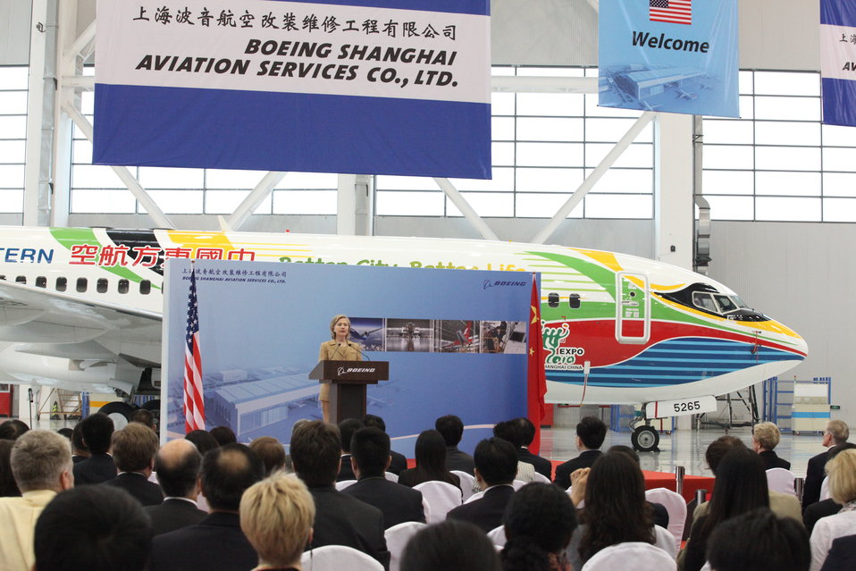 Secretary Clinton Delivers Remarks at Boeing Shanghai Aviation Services