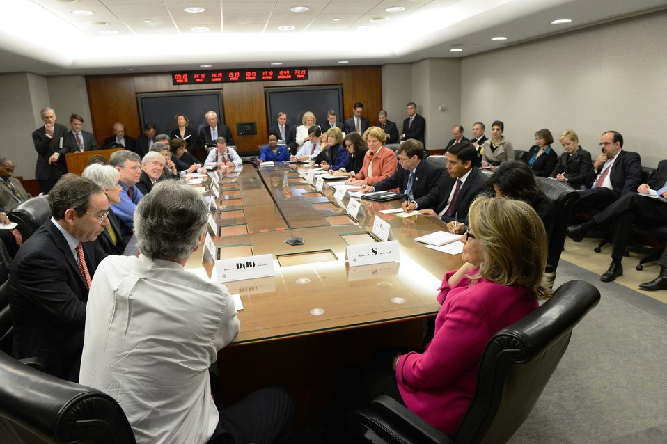 Secretary Clinton Meets With State Department Senior Leadership