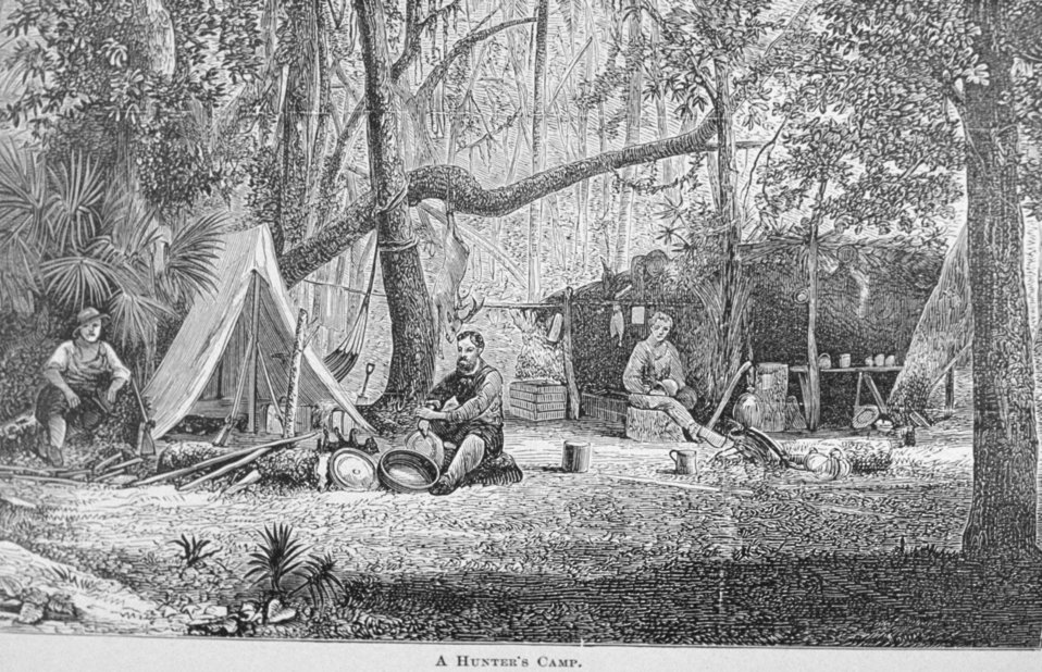 A Hunter's Camp - in 'Florida for Tourists, Invalids, and Settlers'  by George M. Barbour, 1881.  Library Call No. F316 .B23 1881.