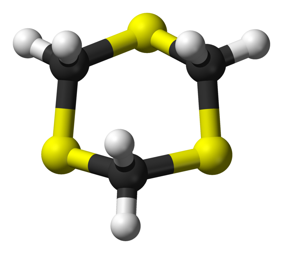Ball-and-stick model of the 1,3,5-trithiane molecule, C3H6S3. X-ray crystallographic data from G. Valle, V. Busetti, M. Mammi and G. Carazzolo (August 1969). 'The crystal structure of 1,3,5-trithiane: a refinement'. Acta Cryst. 'B25' (8): 1432-1436. D