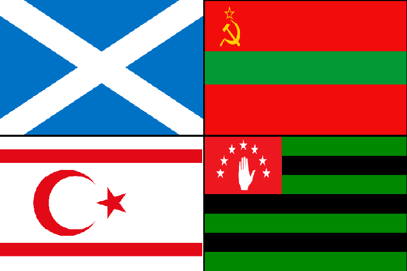 Čeština:  Vlajky čtyřech separatistických a potencionálně separatistických regionů, Severního Kypru, Skotska, Podněsteří a Abcházie Flags of four separatist and potentially separatist regions: Northern Cyprus, Scotland, Transnistria, and Abk