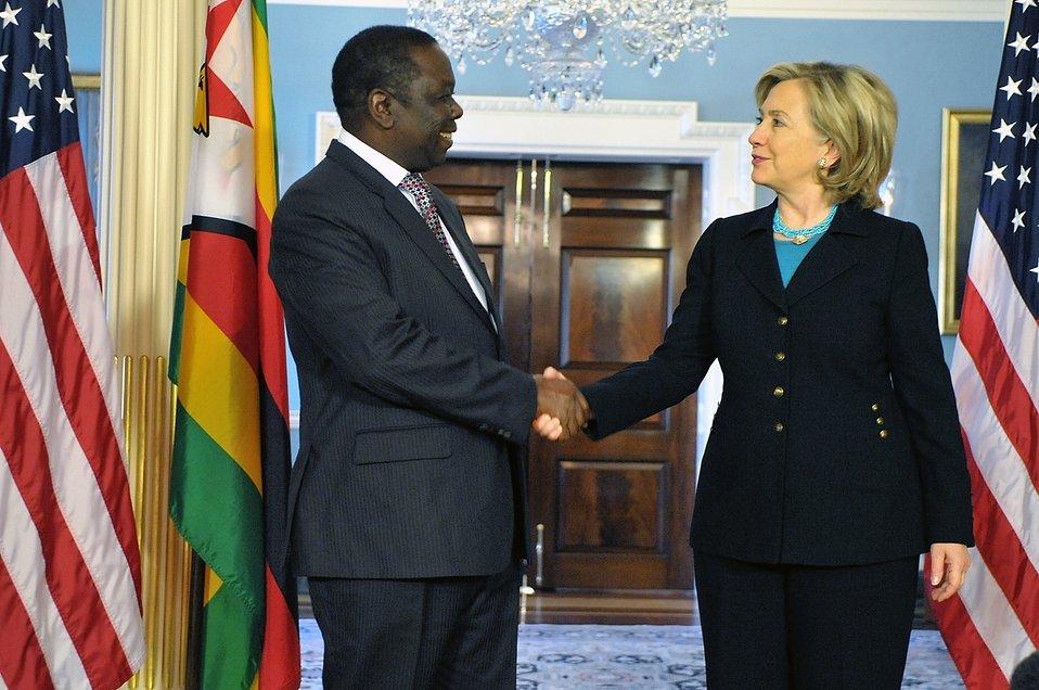 Secretary Clinton Shakes Hands With Zimbabwean Prime Minister Tsvangirai