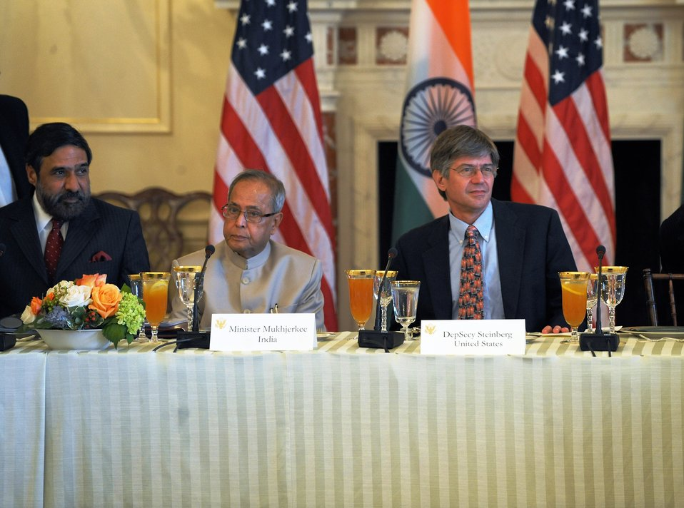 Indian Commerce Minister Sharma, Indian Finance Minister Mukherjee, and Deputy Secretary Steinberg Listen to Secretary Clinton's Opening Remarks