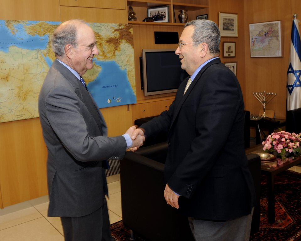 Special Envoy Mitchell Shakes Hands With Israeli FM Ehud Barak